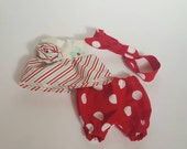 Tilda Sweetheart doll clothes, red polka dot bloomers and white and mint stripe and floral top with rosette, red polka dot headband with bow