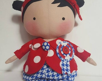 Handmade Tilda Sweetheart doll, all cotton cloth, 12 inch baby doll for girls, Textile doll, unique holiday gift, Christmas gift, made in US