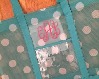 Monogrammed mesh beach bag