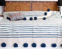 Moroccan Pom Pom Blanket, 100% WOOL, natural organic handspun, handwoven on wooden looms. (BW4)