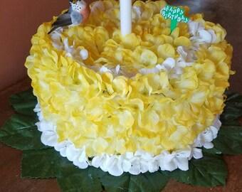 Silk flower Birthday Cake grave decoration