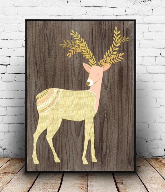 Little girls bedroom decor Deer family print Deer Print
