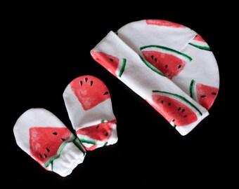 Watermelons gender neutral newborn hat Cotton knit baby hats 0-3 months baby hat + mittens cotton baby clothes beanie
