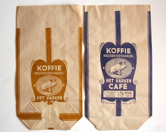 Set of 2 Vintage Belgium Cafe' Bags - General Store - Ephemera - Altered Art - Mixed Media - Assemblage - Scrapbooking