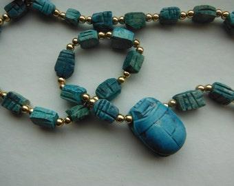 Vintage Turqouise Ceramic Egyptian Scarab Necklace