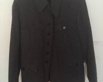 Vintage Marled Grey Wool Military Coat Small