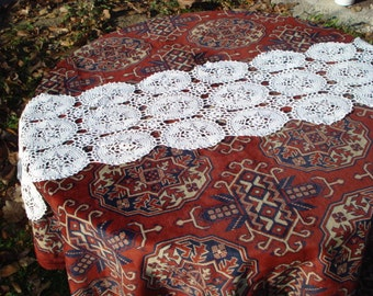 Vintage  White Cotton Hand Knited Crochet Table Cloth