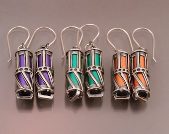 Hand made Two Stories Multicolored Anodized Dangle Silver Earrings.