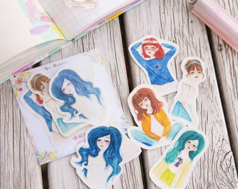 Watercolour Lethargic/Lazy Sunday Girl Planner Stickers (WT-002)