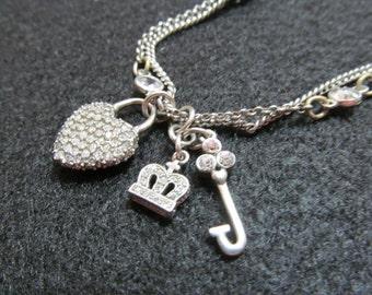 Vintage Juicy Couture necklace, Juicy Couture Charm necklace, Two strand Juicy Couture necklace, Silvertone Juicy Couture, Charm necklace,