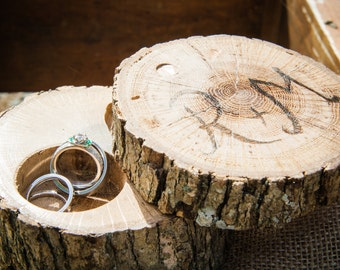 Personalized rustic ring holder