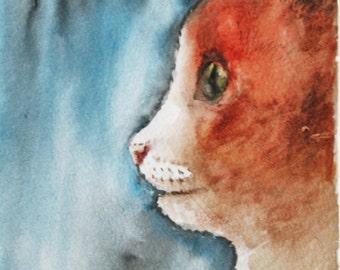 Cat - original watercolor painting, art, drawing, illustration, animals
