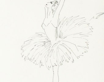 Ballet - original ink painting, 24x32 cm, dance, black&white, rain, ballet,  art, drawing, illustration