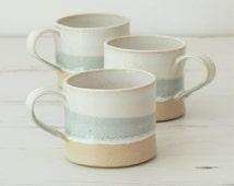 Handmade ceramic mug, pottery mug, grey and white glaze, unglazed base, coffee, tea mug, handmade gift, housewarming gift, kitchen, dining