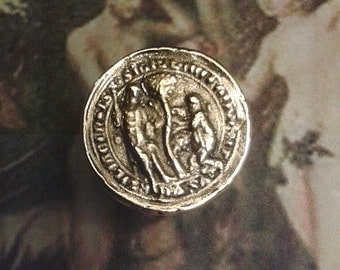 Eden - Bronze handmade ring middle-ages - Adam and Eve in the garden of Eden - Fruits of temptation