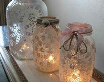 Mason Jar light with lace