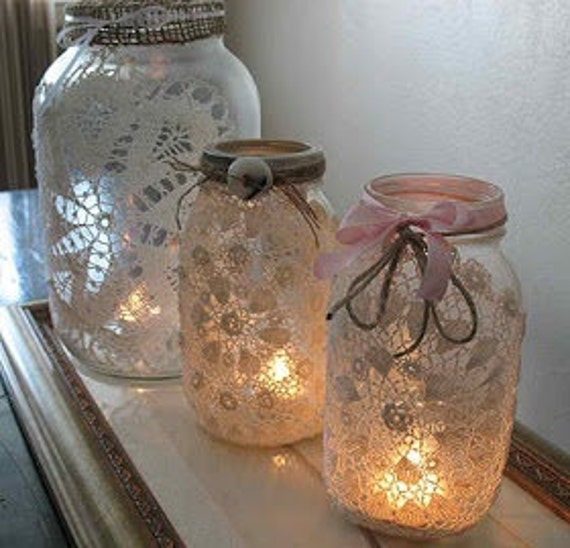 Mason Jar light with lace