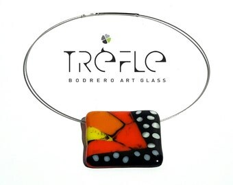 Glass Mosaic Butterfly Necklace pendant