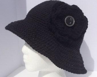 Women black fedora, crochet summer hat, women black hat, cotton sun hat, women sun hat, women beach hat, wide brim hat, dressy fedora