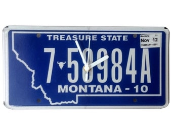 License Plate Wall Clock - Montana 758984A - Number Plate Clock, Treasure State