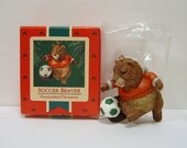 "1985 Hallmark Keepsake Ornament ""Soccer Beaver"" Excellent Condition QX477-5"