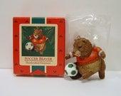 "1985 Hallmark Keepsake Ornament ""Soccer Beaver"" Excellent Condition QX477-5"
