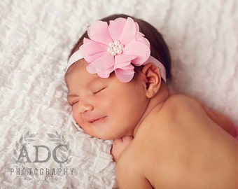 Pink chiffon  flower newborn headband, infant headband, baby headband, newborn photo prop, pink headband, toddler headband, vintage headband