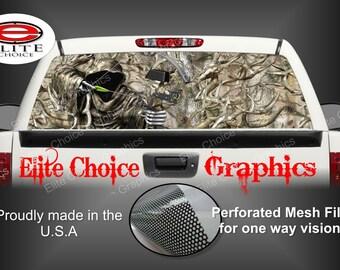 Bow Reaper Obliteration Buck Camo Rear Window Graphic Tint Decal Sticker Truck SUV Van Car