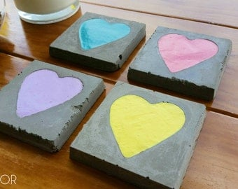 Concrete Coasters - Clay Heart