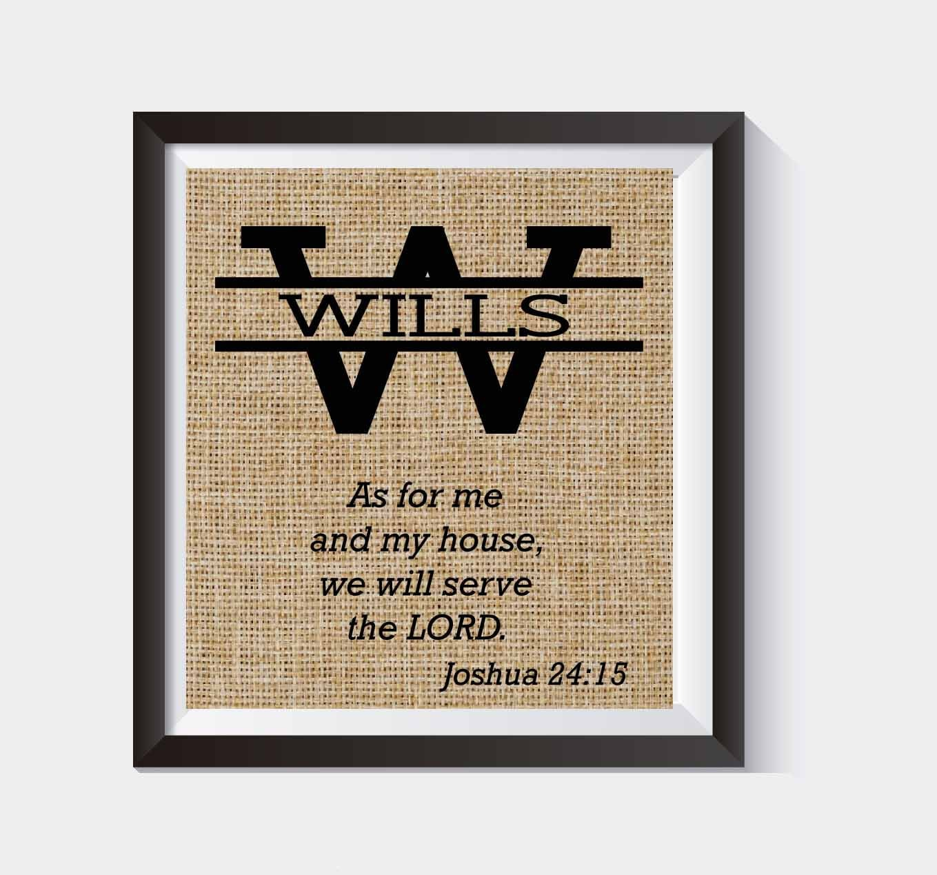 Joshua 24 15 Burlap Print Bible Verse As For Me And My House