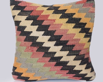 Zig Zag neutrals kilim pillow case, cushion cover from antique Turkish kilim rug - Free shipping if you buy 3