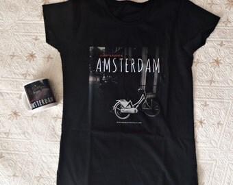 Birthday gift set for her - Amsterdam - women's t-shirt & coffee mug - original design by ©WhenWomanTravels