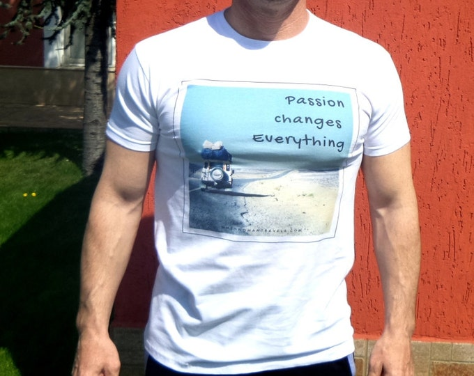 Land Rover fan - best gift for him - Passion Changes Everything - offroad travel - mens t shirt- original design by ©WhenWomanTravels