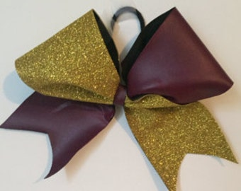 1/2 and 1/2 tic tock cheer bow