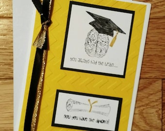 Graduation card, Yellow and Black Graduation card, Class of 2016 Card, Yellow graduation, Congratulations card, Greeting card, Stampin' Up