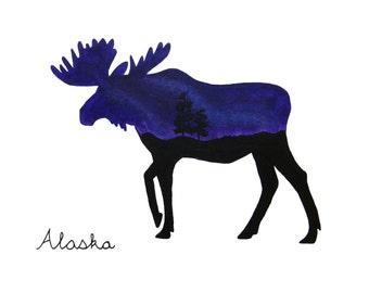 Purple Moose 8x10 PHOTO Print