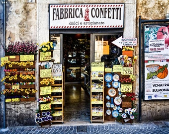 Market, Abruzzi Italy, Sulmona, Confetti Shop, Dessert Almonds, Abruzzi Travel, Colorful Storefront, Italy Wall Decor, Large Wall Art