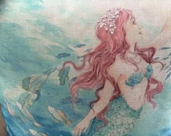 "MERMAID Decorator Pillow. Crystal.  FREE Pillow Form/Insert... 16""x16"". Cotton/linen.. Coastal Decor. Beach Decor. Nautical Decor"
