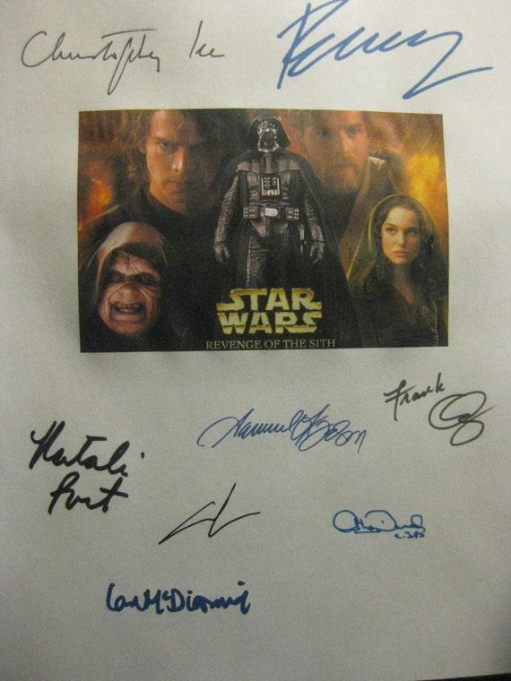Star Wars Episode 3 Revenge of the Sith Signed Film Movie Screenplay Script Autographs Jackson Ewan McGregor Natalie Portman George Lucas