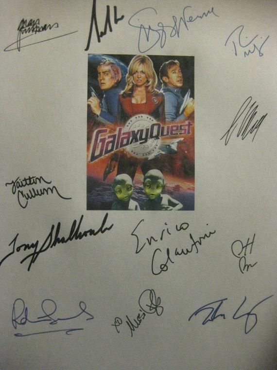 Galaxy Quest Signed Film Movie Script Screenplay X12 autos Tim Allen Alan Rickman Sigourney Weaver Tony Shalhoub Sam Rockwell Rainn Wilson