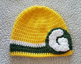 Crochet Green Bay Packers hat, crochet sports hat, crochet Football hat