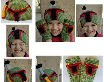 Crochet Boba fett hat, crochet boba fett gloves, crochet boba fett hat and gloves, crochet boba fett fingerless gloves, crochet starwars hat