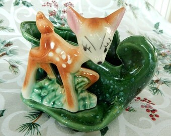 Adorable Little Deer Fawn Ceramic Planter Marked USA