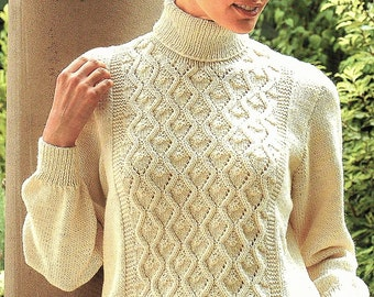 Ladies Polo Neck Sweater, Knitting Pattern. PDF Instant Download.
