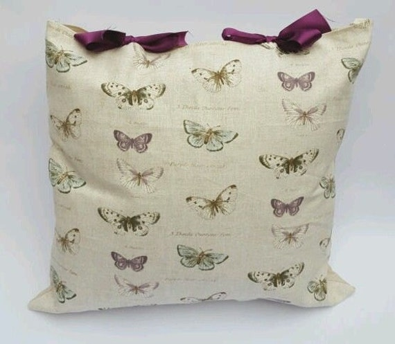 Beautiful Butterfly Print Beige Purple Green Handmade Ribbon Tie Cushion Cover
