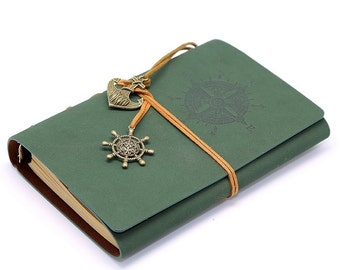 Vintage Retro Leather Notebook Green Journal Diary | Classic Cover Blank Book Bound Case String Nautical