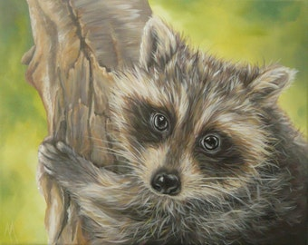 Original canvas by Alison Armstrong - Wildlife / Animal Painting - Racoon