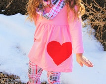 Girls Pink Plaid Valentine Outfit - 3 Piece Set includes Scarf Leggings and Pink Tunic Top