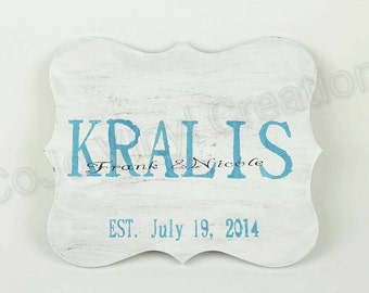 Personalized Family Name Sign with Wedding Date