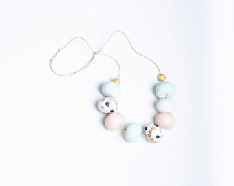 Mint Gold Polymer Clay Necklace Hand & Clay